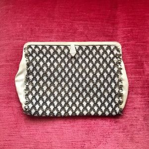 Vintage black and white beaded clutch